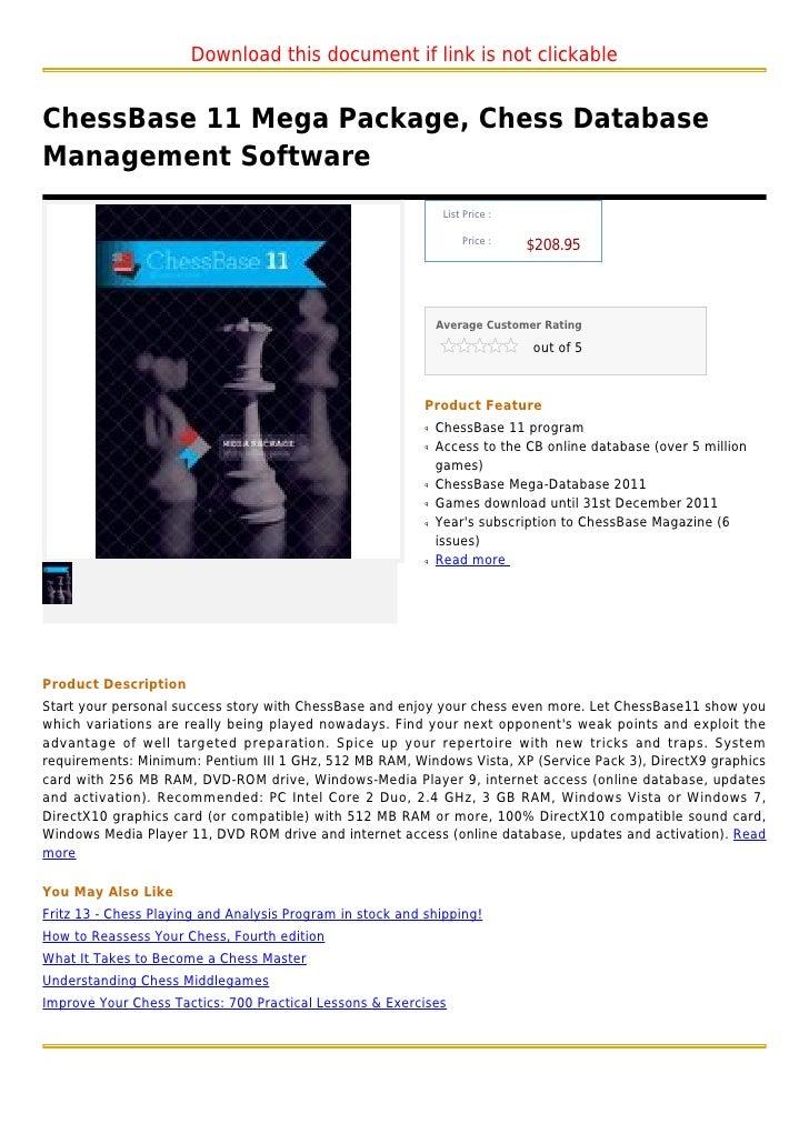 Chess base 11 mega package, chess database management software