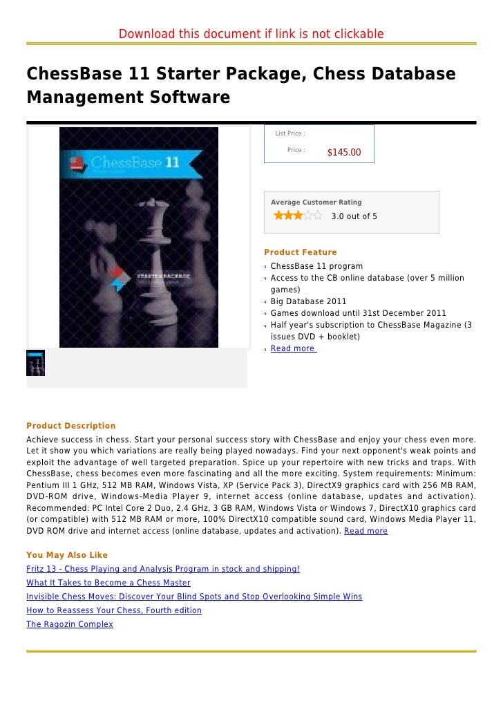 Chess base 11 starter package, chess database management software