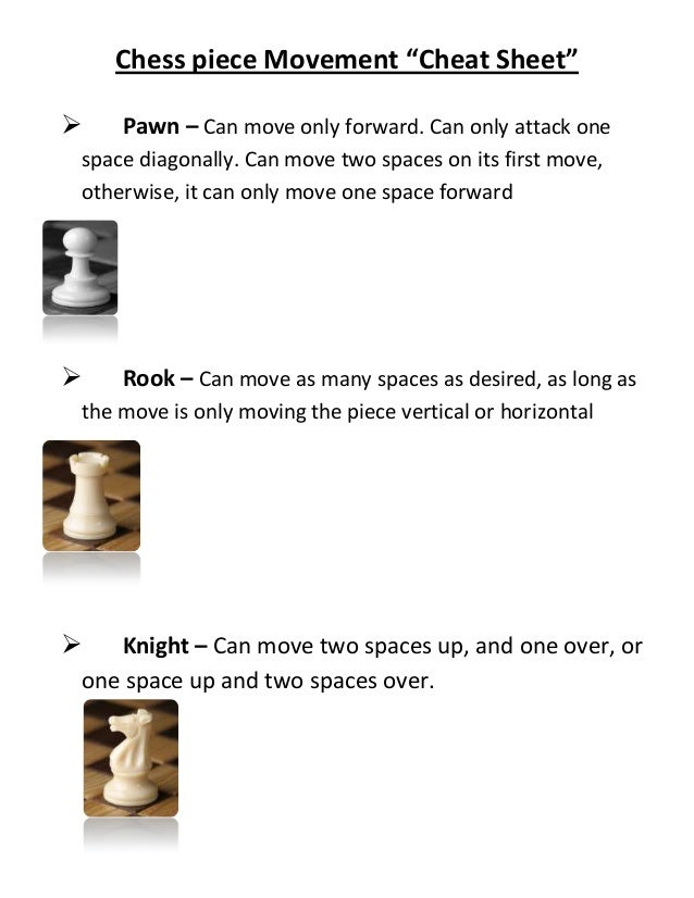 "Chess piece Movement ""Cheat Sheet""   Pawn – Can move only forward. Can only attack onespace diagonally. Can move two spac..."