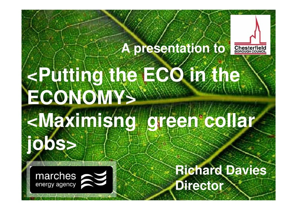 A presentation to  <Putting the ECO in the ECONOMY> <Maximisng green collar jobs>                  Richard Davies         ...
