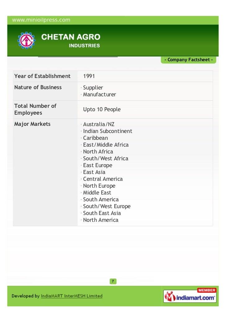 - Company Factsheet -Year of Establishment   1991Nature of Business      Supplier                        ManufacturerTotal...