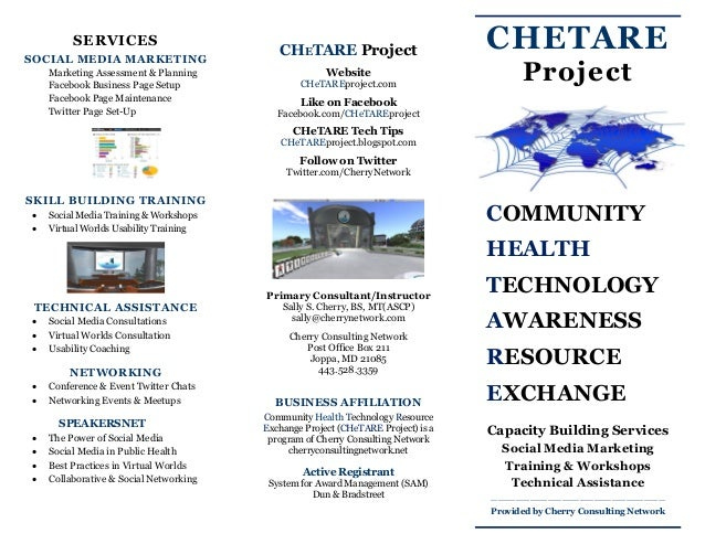 CHETARE Project COMMUNITY HEALTH TECHNOLOGY AWARENESS RESOURCE EXCHANGE Capacity Building Services Social Media Marketing ...