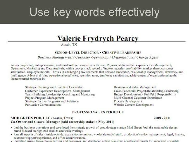 Use key words effectively