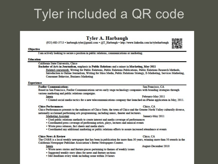 Tyler included a QR code
