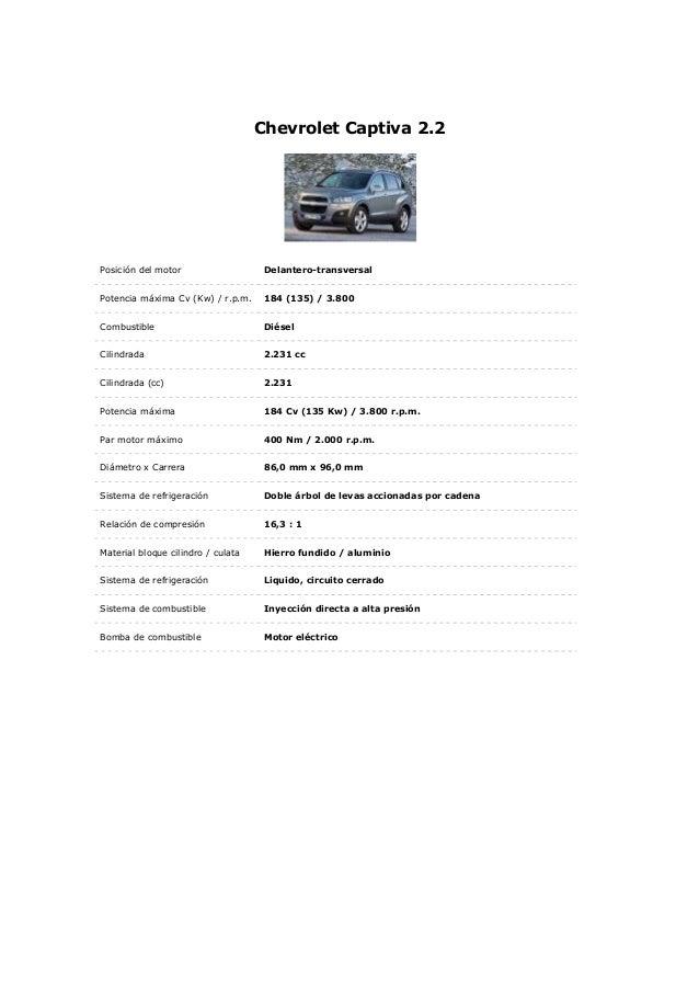 Chevrolet Captiva 2.2Posición del motor Delantero-transversalPotencia máxima Cv (Kw) / r.p.m. 184 (135) / 3.800Combustible...