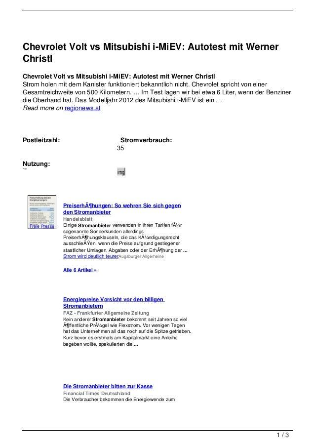 Chevrolet Volt vs Mitsubishi i-MiEV: Autotest mit WernerChristlChevrolet Volt vs Mitsubishi i-MiEV: Autotest mit Werner Ch...