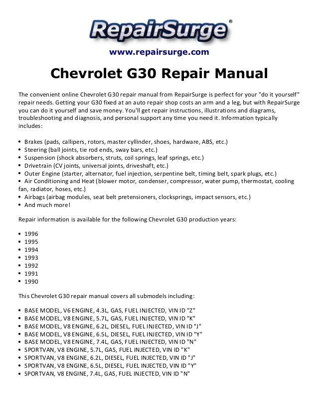 chevrolet g30 repair manual 1990 1996 rh slideshare net 1995 Chevrolet G30 RV 1995 Chevrolet Cargo Truck