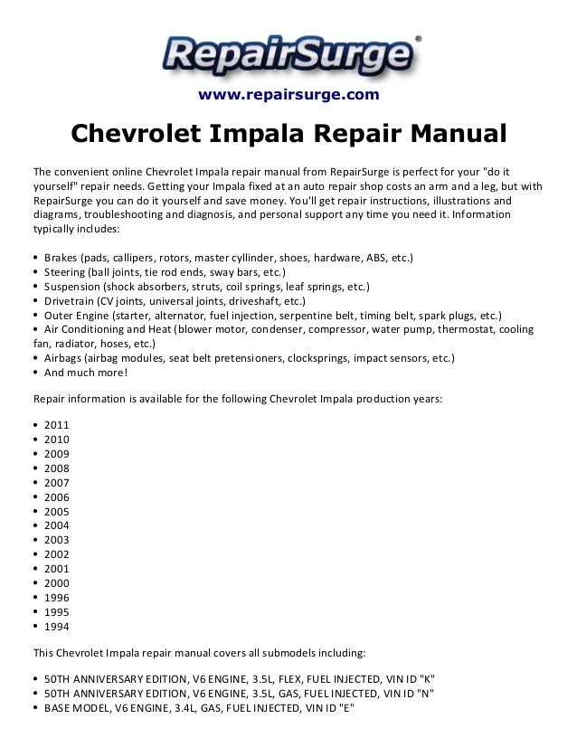 chevrolet impala repair manual 1994 2011 rh slideshare net Recall 2006 Chevy Impala SS 2006 chevrolet impala ss owners manual pdf