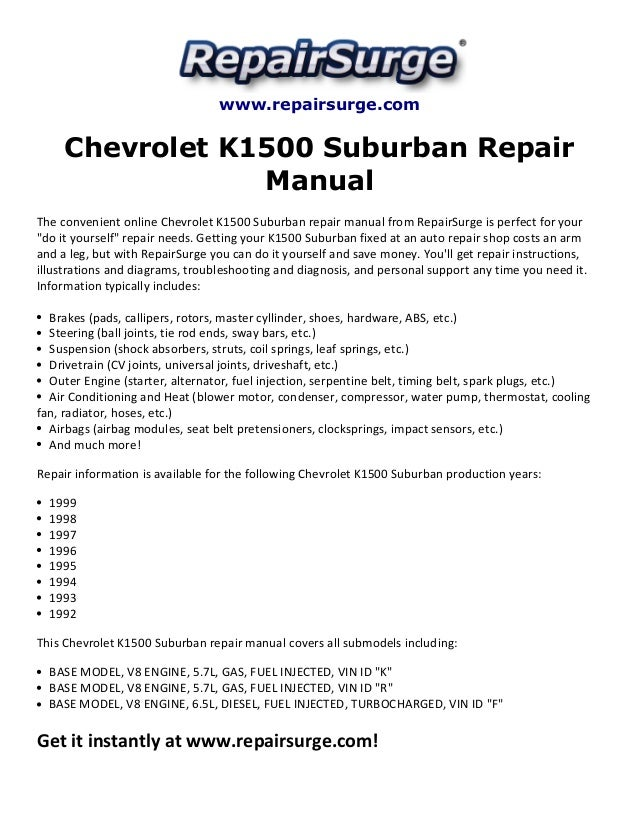 chevrolet k1500 suburban repair manual 1992 1999 rh slideshare net 99 Chevy Suburban 97 Chevy Suburban