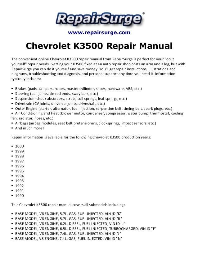 chevrolet k3500 repair manual 1990 2000 rh slideshare net 2011 Chevrolet Impala Repair Information Chevrolet Truck Service