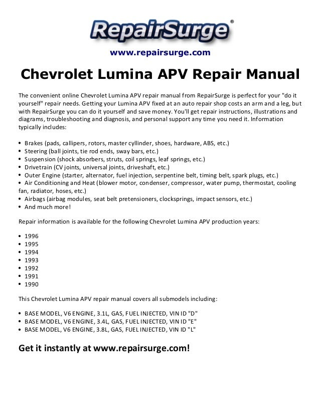 1993 chevy lumina apv minivan repair shop manual original 2 vol.