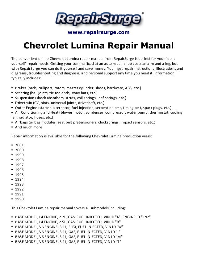 chevrolet lumina repair manual 1990 2001 rh slideshare net