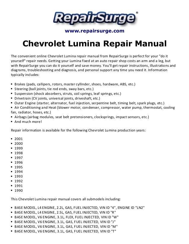 chevrolet lumina repair manual 1990 2001 rh slideshare net 1996 Chevy Lumina 1996 Chevy Lumina