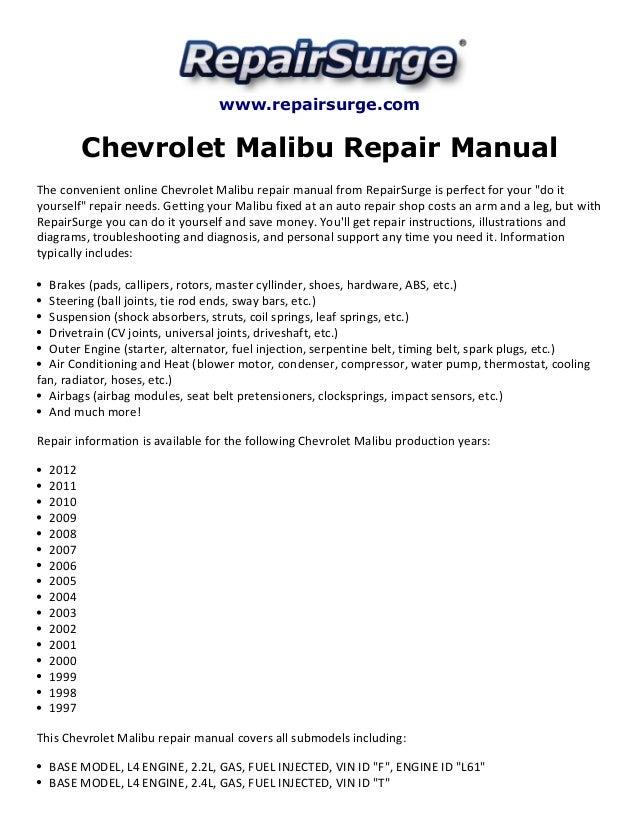 chevrolet malibu repair manual 1997 2012 rh slideshare net Chevy Tahoe 2014 Chevrolet Tahoe