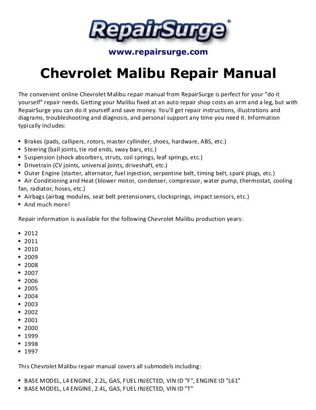 Chevrolet Malibu Repair Manual 19972012 on 2004 chrysler crossfire fuse box