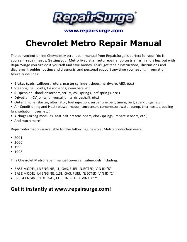 Repairsurge Chevrolet Metro Repair Manual The Convenient Online: Geo Prizm 1 6 Engine Cooling System Diagram At Aslink.org