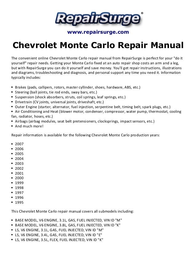 chevrolet monte carlo repair manual 19952007 1 638?cb=1415628140 95 chevy monte carlo engine diagram 95 engine problems and solutions 95 monte carlo wiring diagram at gsmx.co