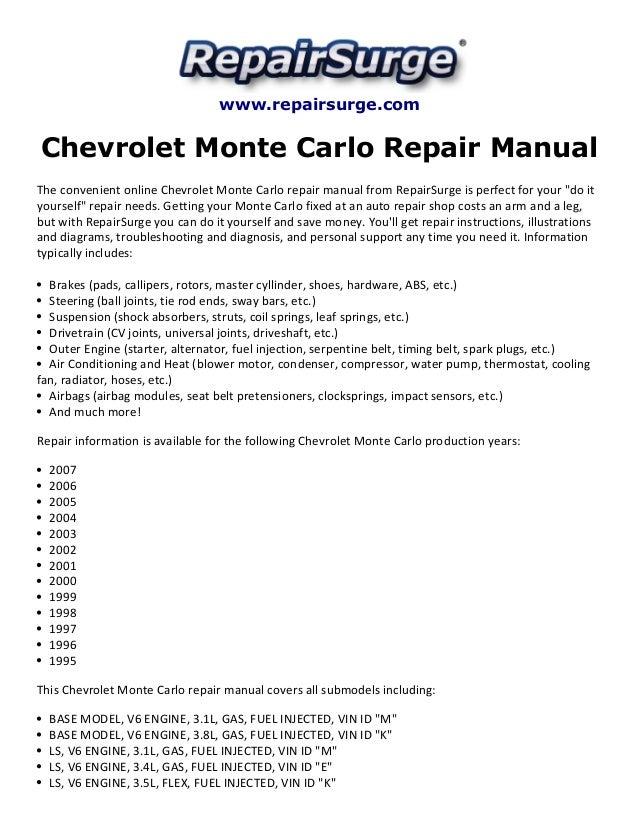 chevrolet monte carlo repair manual 1995 2007 rh slideshare net Camaro 3 4 Engine Diagram Pontiac 3.4 Engine Diagram