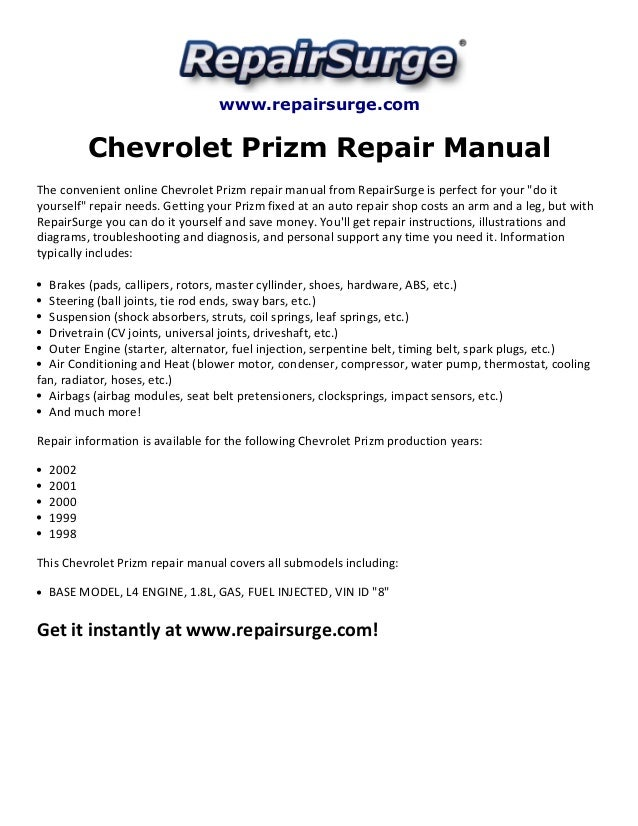 chevrolet prizm repair manual 1998 2002 rh slideshare net 2000 2001 Chevy Prizm 2000 2001 Chevy Prizm