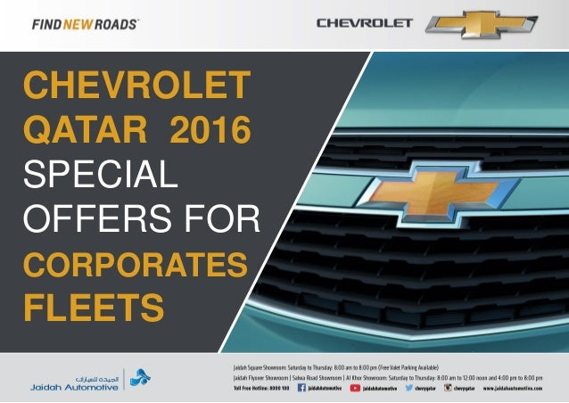Chevrolet Qatar 2016 Special Offers For Corporates Fleets
