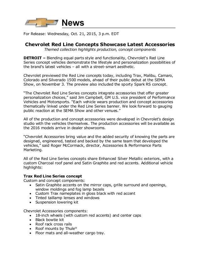 Chevrolet Redline Preview 2015 Sema Press Release