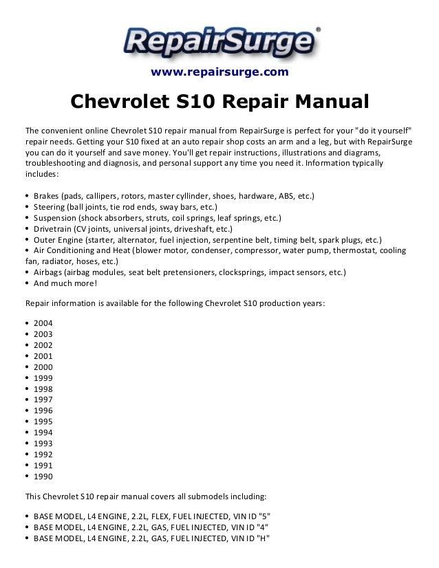 Chevrolet S10 Repair Manual 19902004rhslideshare: 2000 Chevy S10 2 2l Flex Fuel Engine Diagram At Elf-jo.com