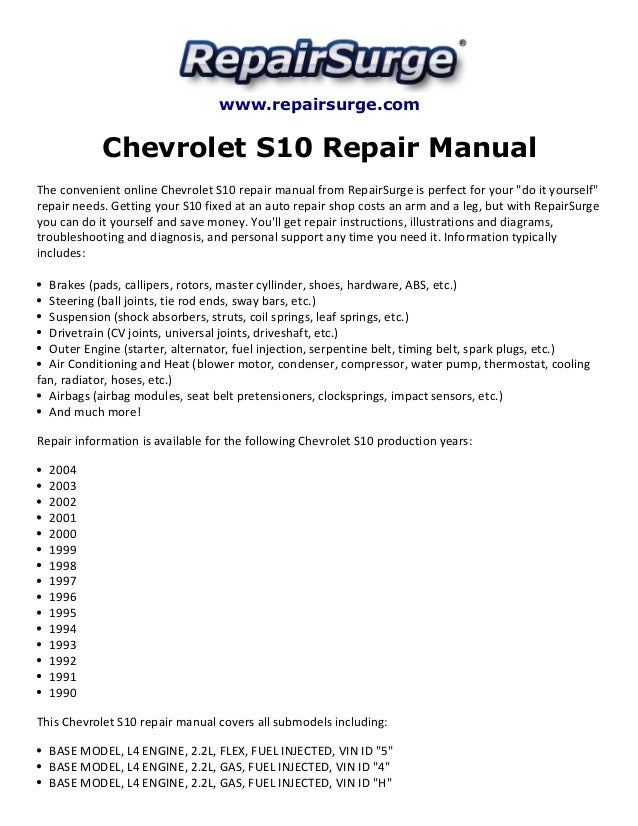 Groß 1995 Chevy S10 Schaltplan Bilder - Elektrische Schaltplan-Ideen ...