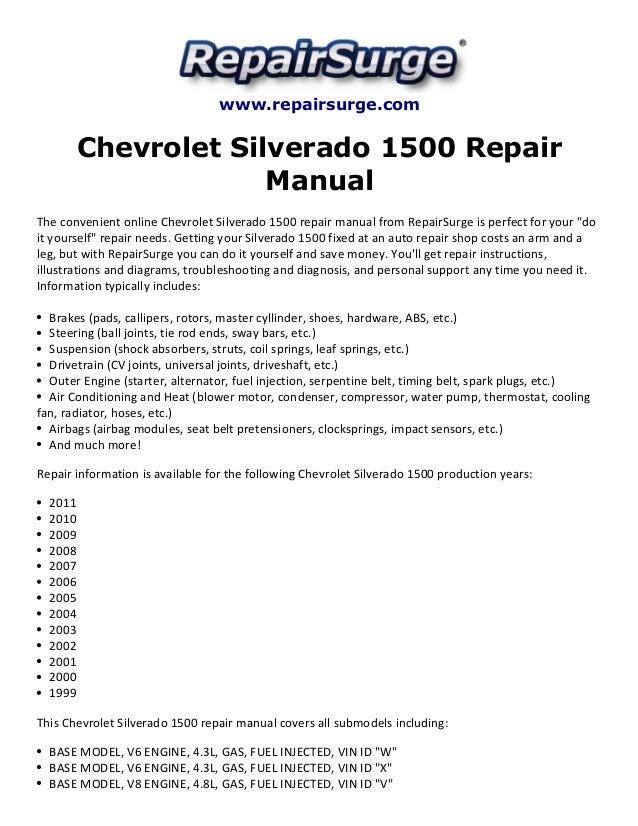 Repairsurge Chevrolet Silverado 1500 Repair Manual The Convenient Online Base Model V8 Engine 53l: 2005 Chevy 5 3l Engine Diagram At Outingpk.com