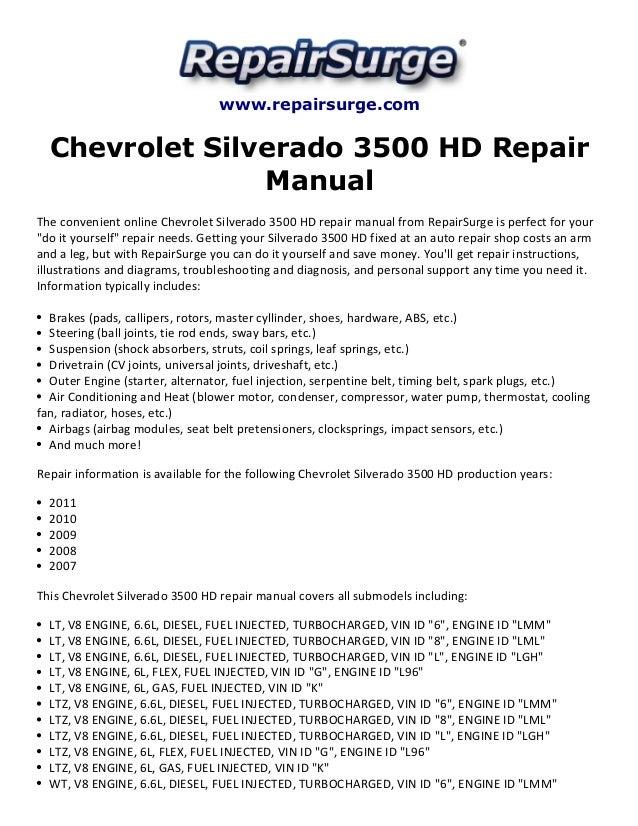 chevrolet silverado 3500 hd repair manual 2007 2011 rh slideshare net Chevy 3500HD Dually Chevrolet 3500