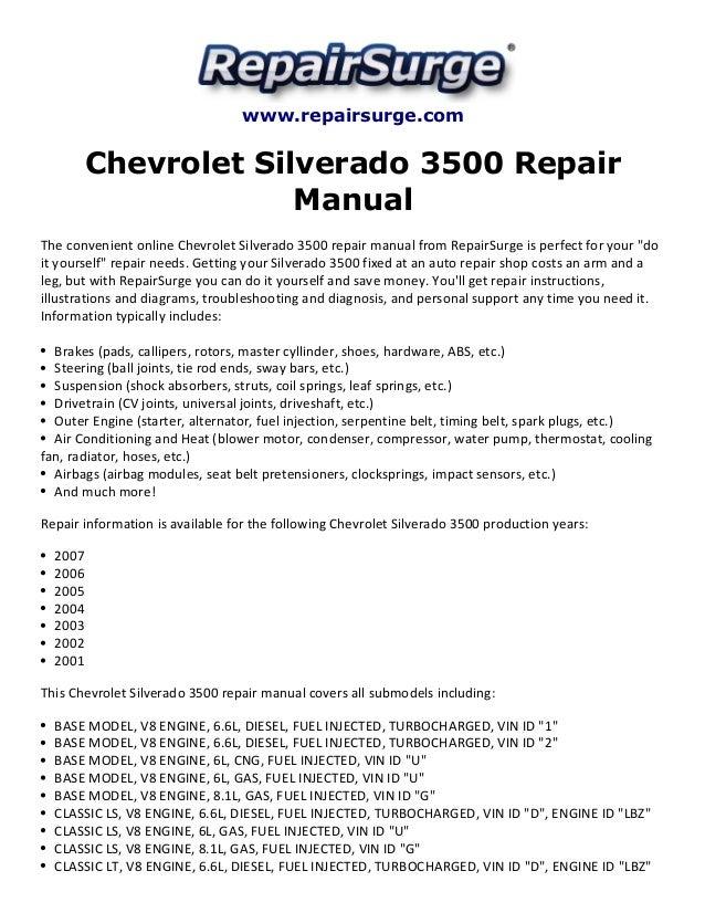chevrolet silverado 3500 repair manual 2001 2007 rh slideshare net 2007 silverado shop manual 2006 Silverado