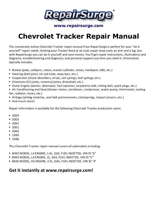 chevrolet tracker repair manual 1998 2004 rh slideshare net 2000 chevy tracker service manual 2000 chevy tracker manual transmission noise
