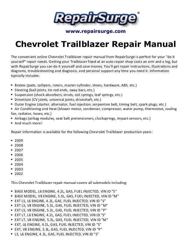 chevrolet trailblazer repair manual 2002 2009 rh slideshare net 2007 Chevy Trailblazer Interior 2007 Chevy Trailblazer Exterior Mirror