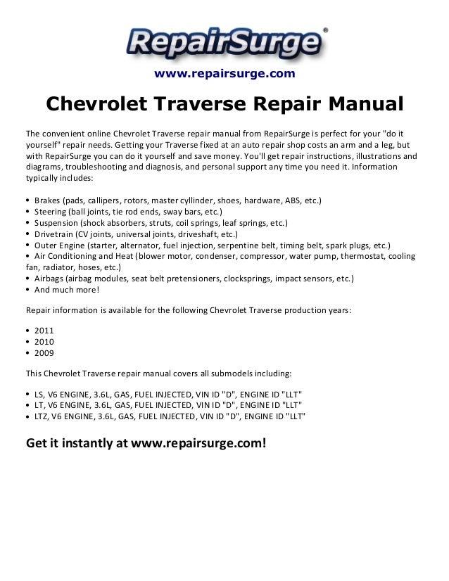 Chevrolet Traverse Repair Manual 2009 2011 Rh Slideshare 1950 Chevy Alternator Diagram Basic Wiring: GM Alternator Wiring Diagram 2010 At Kopipes.co