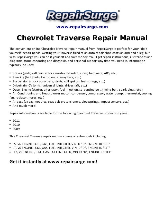 chevrolet traverse repair manual 2009 2011 rh slideshare net 2009 Chevy Traverse Engine Replacement 2013 Chevy Traverse Engine Layout