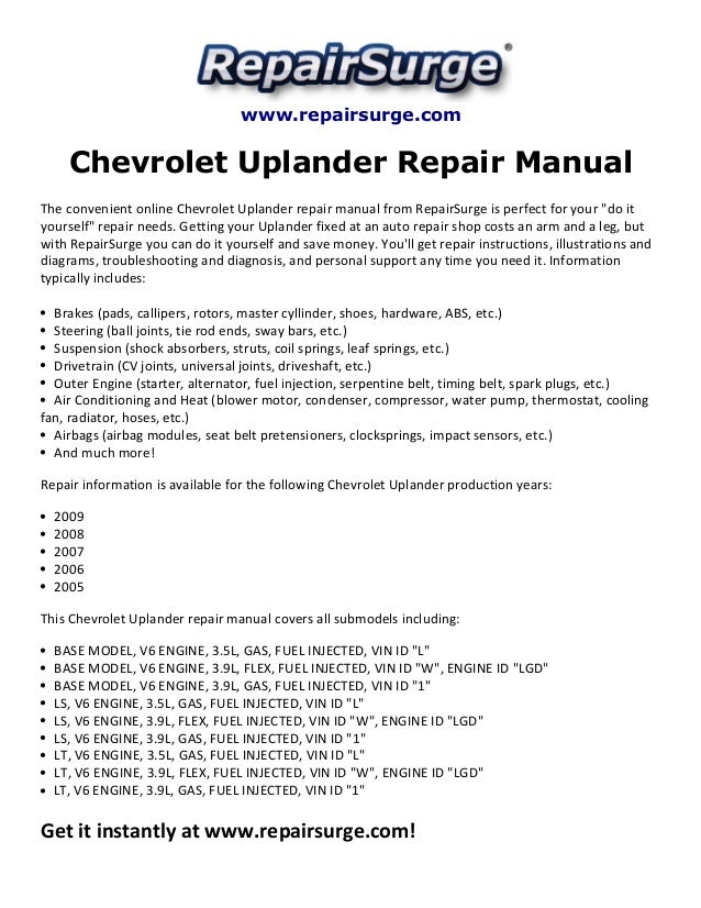 chevrolet uplander repair manual 2005 2009 rh slideshare net 2008 chevy uplander lt owners manual 2008 chevy uplander repair manual