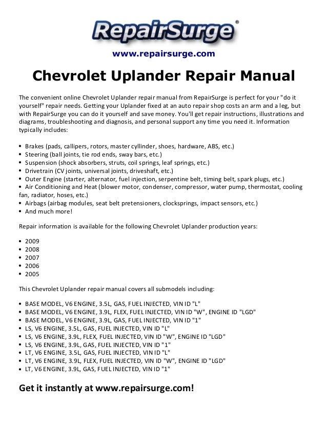 chevrolet uplander repair manual 2005 2009 repairsurge com chevrolet uplander repair manual the convenient online chevrolet uplander repair manual