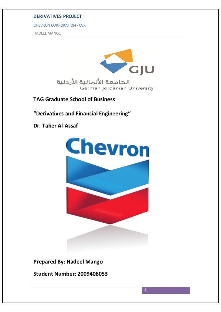 "DERIVATIVES PROJECTCHEVRON CORPORATION - CVXHADEEL MANGOTAG Graduate School of Business""Derivatives and Financial Engineer..."