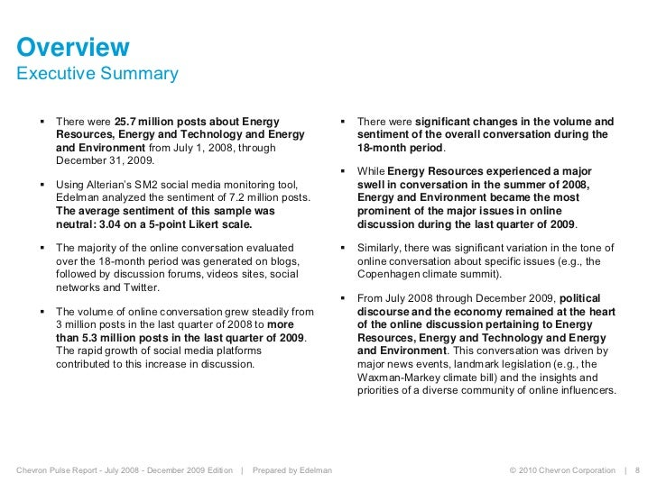 Chevron Pulse Report July 2008 To December 2009