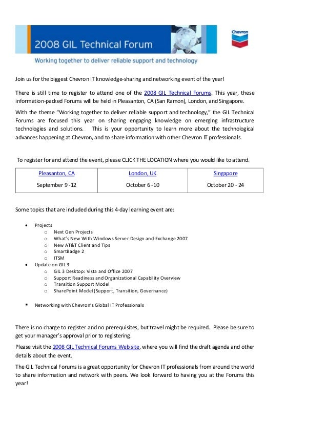 Chevron Tech Forum Invitation Email