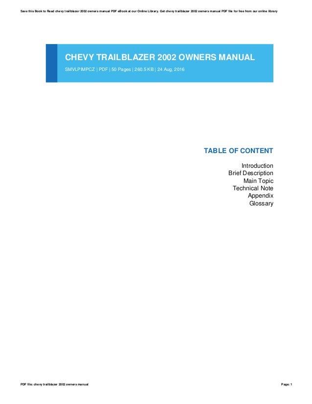 chevy trailblazer 2002 owners manual rh slideshare net trailblazer owner manual miller trailblazer 325 owner's manual