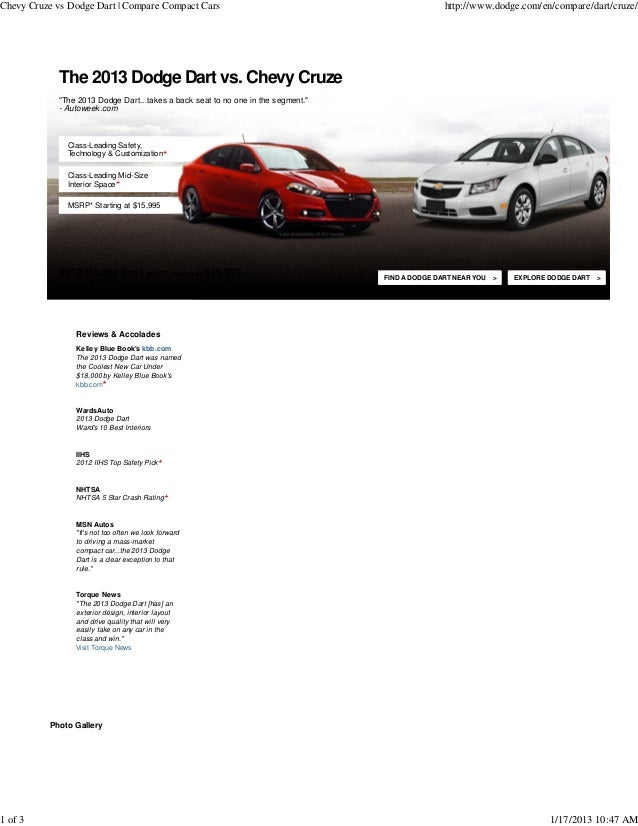 Chevy Cruze vs Dodge Dart | Compare Compact Cars                                                 http://www.dodge.com/en/c...
