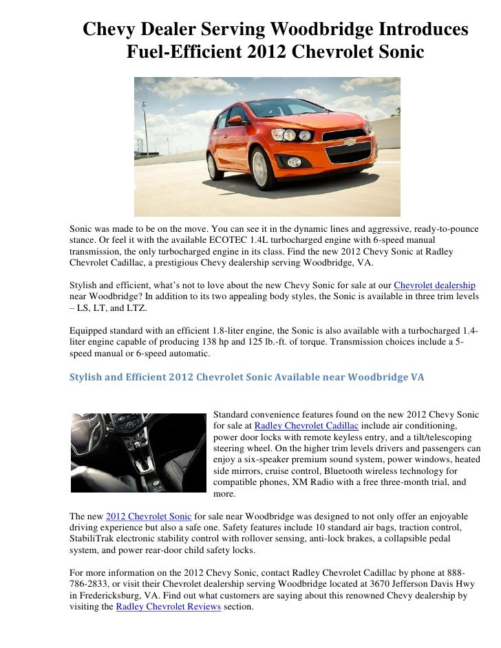 Chevy Dealer Serving Woodbridge Introduces Fuel Efficient 2012 Chevrolet  SonicSonic Was Made To Be On About Radley ...