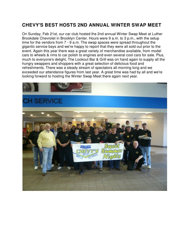 CHEVY'S BEST HOSTS 2ND ANNUAL WINTER SWAP MEET On Sunday, Feb 21st, our car club hosted the 2nd annual Winter Swap Meet at...