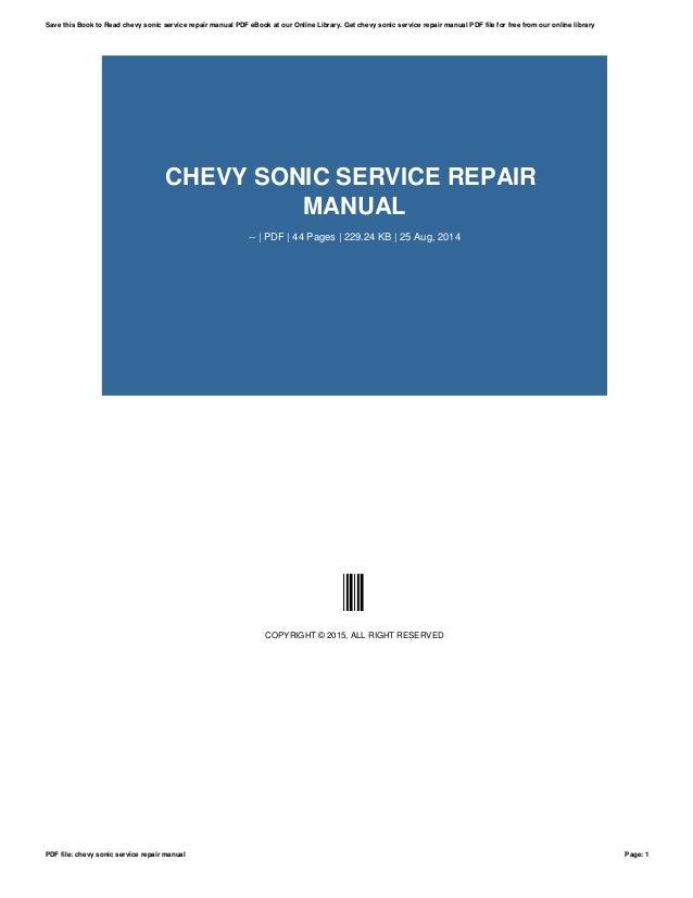 chevy sonic service repair manual rh slideshare net 2013 Sonic Owner Manual 2013 Sonic Owner Manual