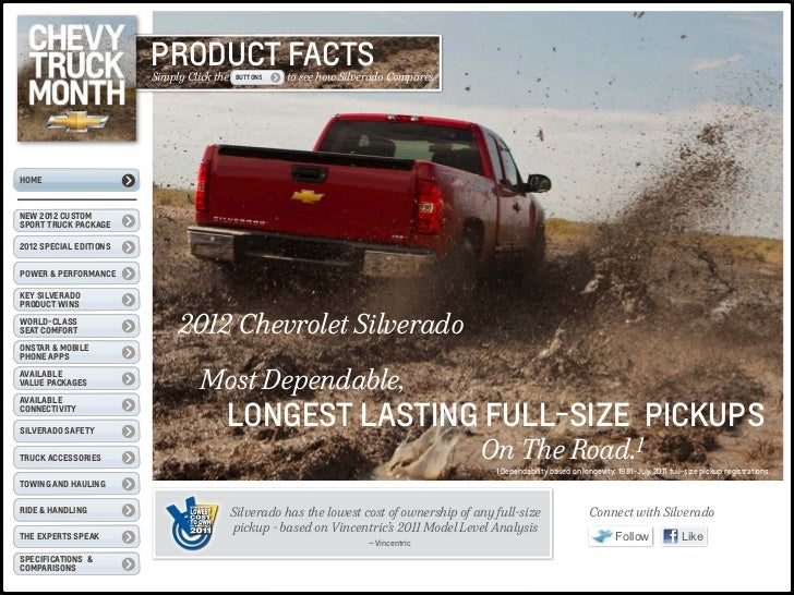PRODUCT FACTS                        Simply Click the   BUTTONS   to see how Silverado ComparesHOMENEW 2012 CustomSport Tr...