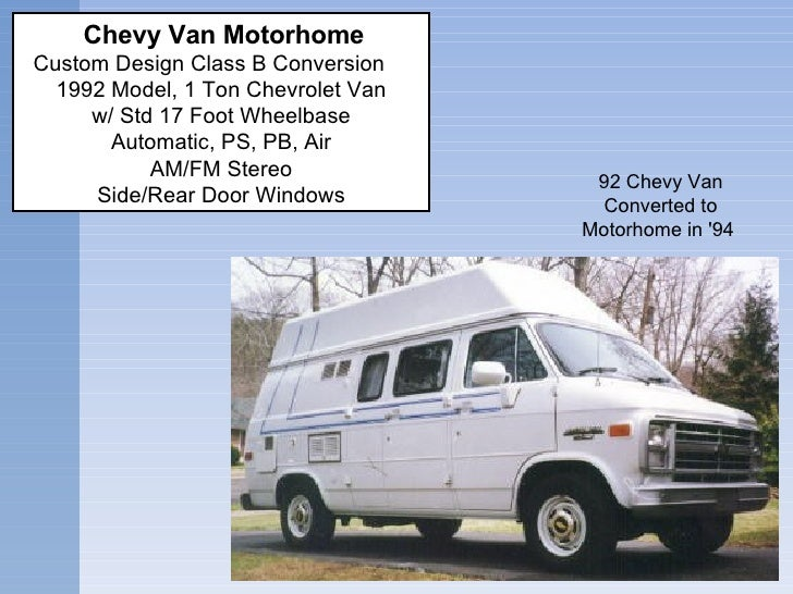92 Chevy Van Converted to Motorhome in '94     Chevy Van Motorhome  Custom Design Class B Conversion   1992 Model, 1 To...