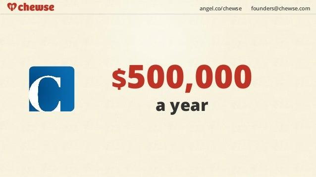 angel.co/chewse   founders@chewse.com$500,000  a year