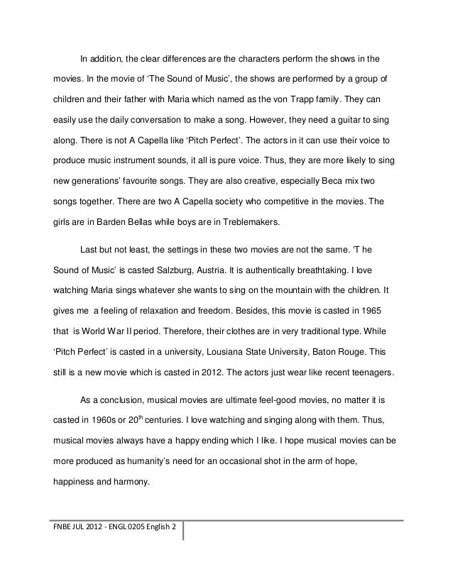 Contrast Essay of Musical Movies ( Putch Perfect and The Sound of Mus…