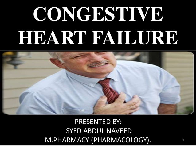 CONGESTIVE  HEART FAILURE  PRESENTED BY:  SYED ABDUL NAVEED  M.PHARMACY (PHARMACOLOGY). 1