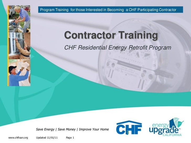 Program Training for those Interested in Becoming a CHF Participating Contractor                                     Contr...